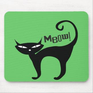 Retro Black Cat Meow Mouse Pad