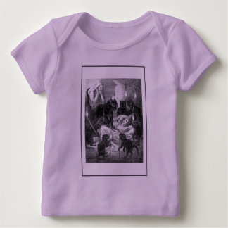 Retro black cat party drawing baby T-Shirt