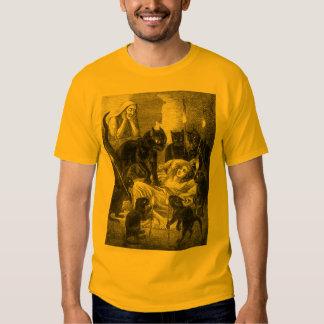 Retro black cat party drawing tee shirt