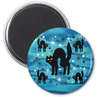 Retro Black Cats Fantasy with Starbursts on Blue 2 Inch Round Magnet