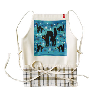 Retro Black Cats Fantasy with Starbursts on Blue Zazzle HEART Apron