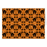 Retro Black Cats Fantasy with Starbursts on Orange Cards