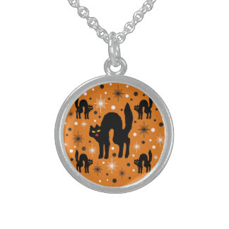 Retro Black Cats Fantasy with Starbursts on Orange Sterling Silver Necklaces