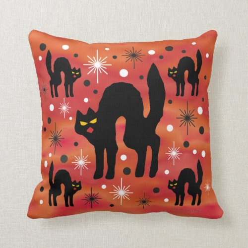 Retro Black Cats Throw Pillow