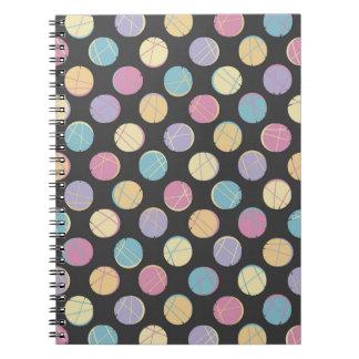 Retro Black colorful dots femenine notebook  