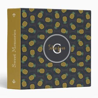 Retro black gold pineapple patterns monogram binder