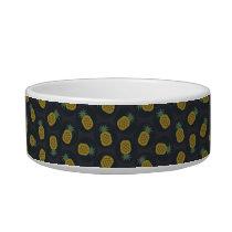 Retro black gold pineapple patterns monogram bowl