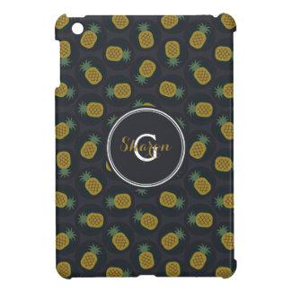 Retro black gold pineapple patterns monogram iPad mini cover