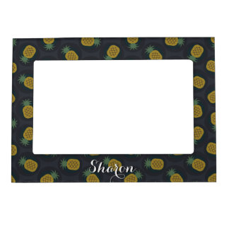 Retro black gold pineapple patterns monogram magnetic picture frame