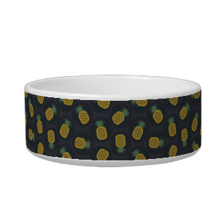 Retro black gold pineapple patterns monogram cat water bowls