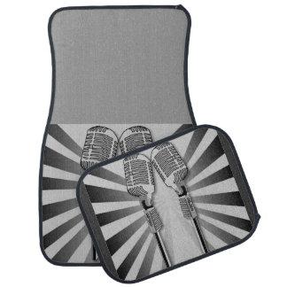 Retro Black Gray Microphone Sound Waves Stripes Car Floor Mat