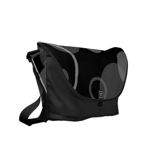 Retro Black & Grey Circle Messenger Bag