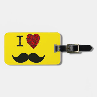Retro Black Handlebar I love Mustache Luggage Tag