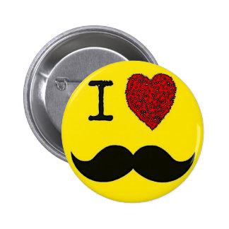 Retro Black Handlebar I love Mustache Pinback Button
