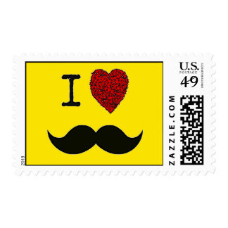 Retro Black Handlebar I love Mustache Postage Stamp