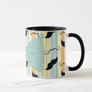 Retro Black Handlebar Mustache Bowtie Pattern Mug