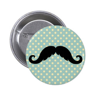 Retro Black Handlebar Mustache Moustache Button