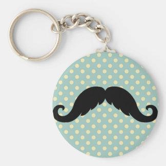 Retro Black Handlebar Mustache Moustache Key Chains