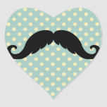 Retro Black Handlebar Mustache Moustache Heart Sticker