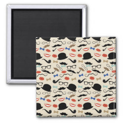 Square Magnet with Mustache Patterns design