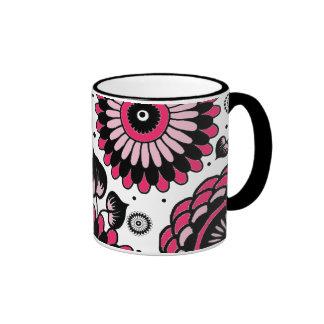 Retro Black & Hot Pink Floral Pattern Ringer Coffee Mug