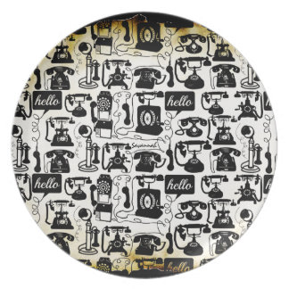 Retro Black or any color & White Telephone Pattern Dinner Plate