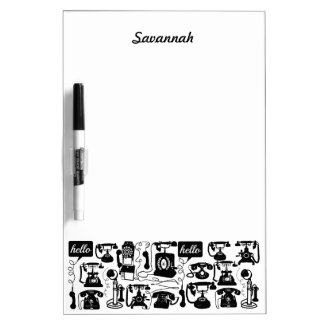 Retro Black or any color & White Telephone Pattern Dry-Erase Board