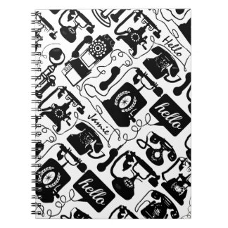 Retro Black or any color & White Telephone Pattern Notebook