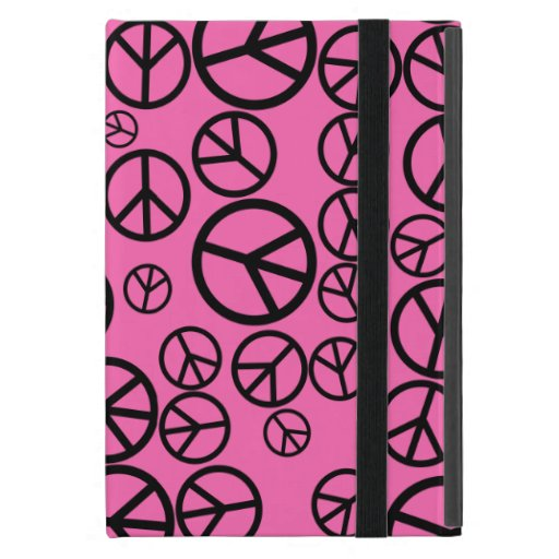 Retro Black Peace Signs on Hot Pink Case For iPad Mini