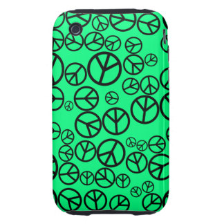 Retro Black Peace Signs on Spring Green iPhone 3 Tough Cover