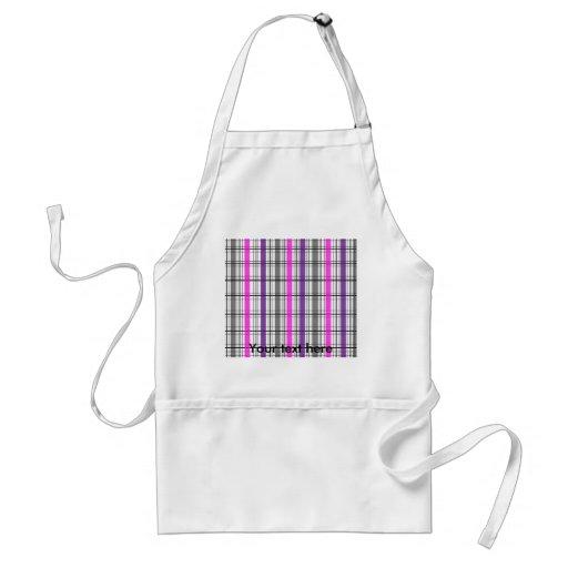 Retro black pink and white plaid aprons