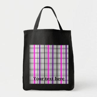 Retro black pink and white plaid canvas bags