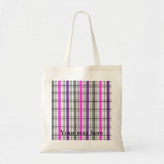Retro black pink and white plaid tote bags