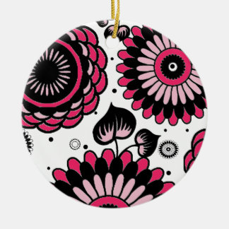 Retro Black & Pink Floral Pattern Double-Side Christmas Tree Ornament
