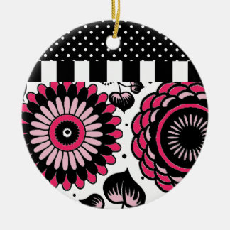 Retro Black & Pink Floral Pattern Double-Side Ornaments