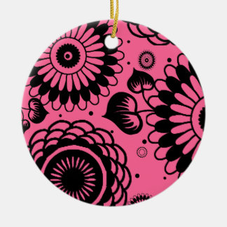 Retro Black & Pink Floral Pattern Double-Side Christmas Ornaments