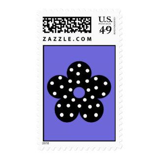 Retro Black Polka Dot Flower on Purple Background Postage Stamps