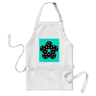 Retro Black Polka Dot Flower on Teal Background Apron