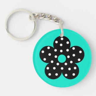 Retro Black Polka Dot Flower on Teal Background Single-Sided Round Acrylic Keychain