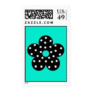 Retro Black Polka Dot Flower on Teal Background Stamp