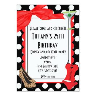 "Retro black  polka dot party cocktail invitation 4.5"" x 6.25"" invitation card"