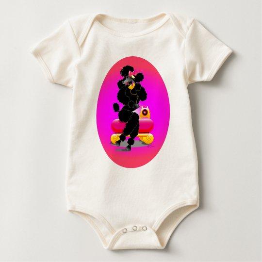 Retro Black Poodle on Phone Baby Bodysuit