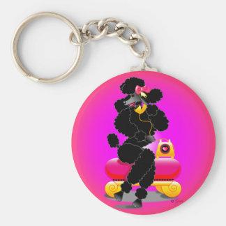 Retro Black Poodle on Phone Keychain