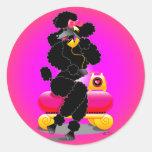 Retro Black Poodle on Phone Sticker
