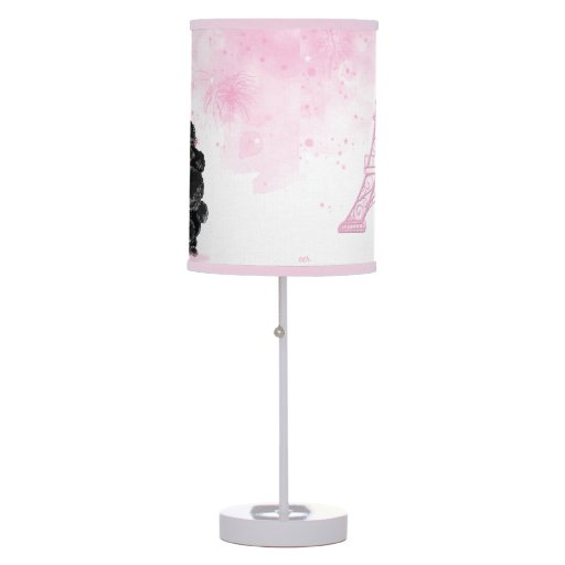 retro black poodle pink eiffel tower table lamps zazzle. Black Bedroom Furniture Sets. Home Design Ideas