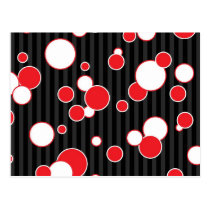 Retro Black Red and White Pattern Postcard