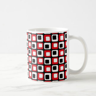 Retro Black Red White Check Coffee Mug