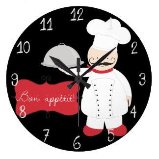 Retro Black Red & White Chef Bon Appetit! Large Clock