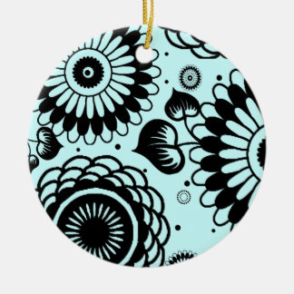 Retro Black & Robin Floral Pattern Double-Side Ornament