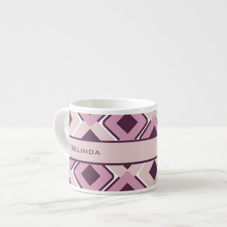 Retro Black Rose and Blossom Diamonds Espresso Cup